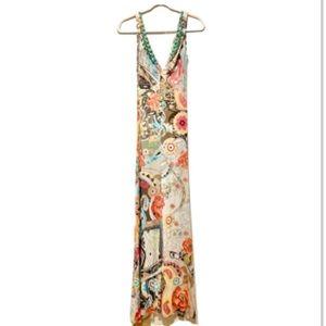 Blumarine Tropical Resort V-Neck Maxi Dress 42 M